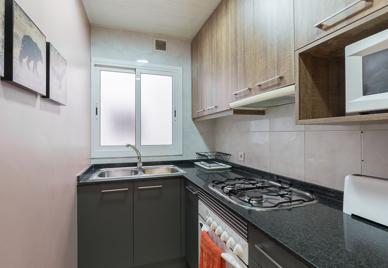 equipped kitchen in the Plaza España apartment in Barcelona